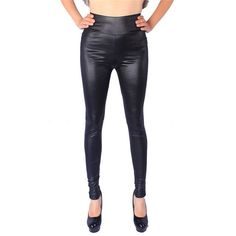 ERAEYE Women High Elastic Thin Faux Leather Leggings Large Size Xl-5XL Imitation Leather Pants Skinny Shiny Black Plus Leggings