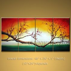 Tetraptych Contemporary Wall Art Floral Cherry Blossom Contemporary Decor. In Stock $145 from OilPaintingShops.com @Bo Yi Gallery/ ops2a06