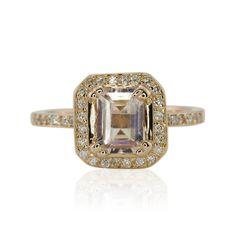Morganite Engagement Ring Asscher Engagement by LaurieSarahDesigns