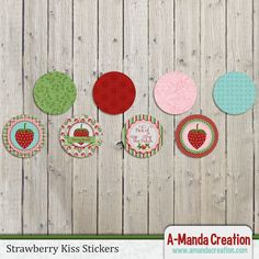 Strawberry Birthday Party Printables from #AmandaCreation  Gorgeous strawberry themed printables to make your party stand out from the rest!  These strawberry printable kiss stickers  are a perfect way to tie in your theme throughout your entire party!