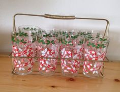 Christmas Glasses with Candy Cane and Holly design and Caddy