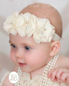 ESCOGER COLOR marfil bebé diadema diademas de por ThinkPinkBows