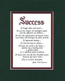Mcdarlins Success Matted Ralph Waldo Emerson Poem Wall Sign Graduate Keepsake Gift Emerson Poems Ralph Waldo Emerson Poems Poems