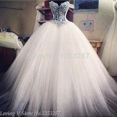 Branco Strapless vestidos de casamento romântico vestido de baile pérolas vestidos de noiva Lace Up voltar vestido de noiva 2015 venda quente Sweetangel