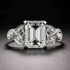 2.03 Carat Emerald Cut Diamond Art Deco Ring GIA G/VS1 - Antique & Vintage Diamond Rings - Vintage Jewelry