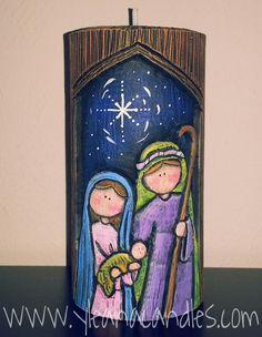 Handmade carved candle, by Yleana Candles. Christmas Rock, Christmas Nativity Scene, Christmas Signs, Christmas Time, Christmas Crafts, Christmas Decorations, Christmas Ornaments, Happy Birthday Jesus, Christian Christmas