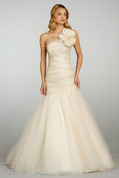 jim hjelm spring summer 2013 bridal ball gown. Love the design except for the huge flower on top