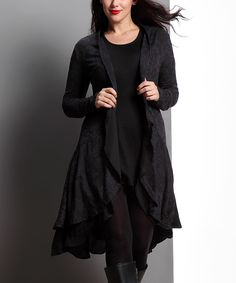 Another great find on #zulily! Black Drape Open Cardigan - Plus by Reborn Collection #zulilyfinds