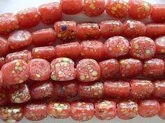Happy Mango Beads - Red Speckled Glass Beads 7-9mm (JV466), $5.95 (http://happymangobeads.com/red-speckled-glass-beads-7-9mm-jv466/)