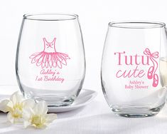 Celebrate your tutu cute baby shower in style with this trendy stemless wine glass favor. Personalize these ballerina party favors with your name and event date to add a truly special touch.