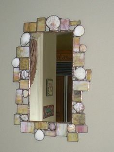 Funky sea shell and stained glass mirror by Designed With Glass, via Flickr