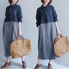 "Fabric: Fabric has some stretchSeason: Autumn, Spring, WinterType: Shirt DressPattern Type: PlainSleeve Length: Long SleeveColor: Gray blue DressDresses Length: MaxiStyle: CasualSilhouette: Dress Free Size: Shoulder 40 cm / 15.6"",Bust 100 cm / 39"",Sleeve Length 45 cm / 17.55"",Length 125 cm / 48.75"""
