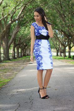 floral dress, purple and white dress, black heel