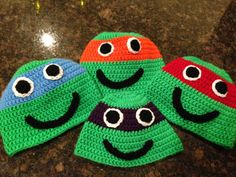 Mutant Ninja Turtle Inspired Crochet Hats  $20.00 Can be made in any color or size NB to Adult Hat made by Dots of Love Creations Dotsoflovecreations@gmail.com