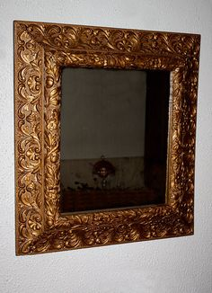 Vintage Ornate Wall Hanging Mirror Carved by QUEENIESECLECTIC, $110.00