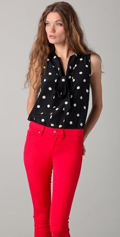 Polk-a-dots and red pants
