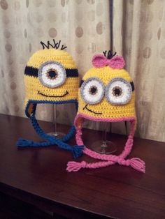 Minion Hats  READY TO SHIP  Size 13 year girl by CharliLuDesigns, $25.00