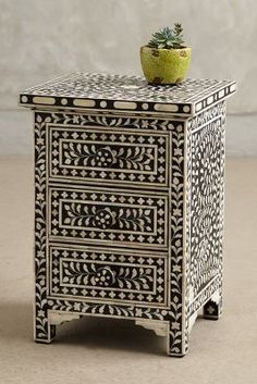 Anthropologie Bone Inlay Nightstand Moroccan Bedroomdecor Moroccanprints Bedroomfurniture