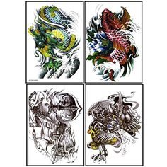Latest new design and hot selling realistic tattoo stickers 4pcs in one package, it's including fish,green dragon,Boat and spear,Spitfire animal temporary tattoos *** See this great product. (This is an affiliate link) #Makeup