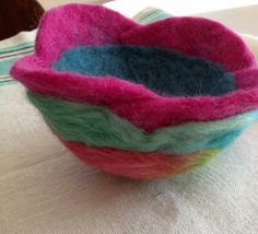 Colorful Needle Felted Flower Bowl by 2CityStudio on Etsy, $18.00