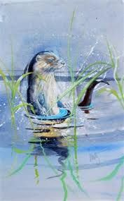 Walty Dudok van Heel Watercolor Bird, Watercolor Paintings, Watercolors, Otters, Painting Inspiration, Pastels, Landscape Paintings, Animal Pictures, Illustration