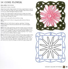 Cone flower granny square pattern from the new book The Granny Square Book by Margaret Hubert. Diagram and written pattern