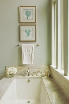 A beautiful master bathroom retreat just for mom with a seaside feel in soft blue-green and sand design by marker girl House Of Turquoise, Bad Inspiration, Bathroom Inspiration, Garden Tub Decorating, Decorating Ideas, Decor Ideas, Master Tub, Master Bathrooms, Bathtub Decor