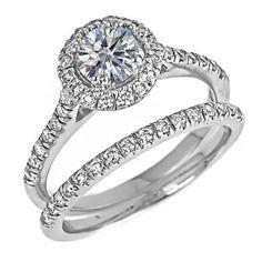 Halo Set Round Brilliant Cut Diamond Engagement Wedding Ring Bridal Set with Micro Pave Side Diamonds 14k White Gold ( 1 1/4 Carats, SI-2 Clarity, G Color) ATR Jewelry, http://www.amazon.com/dp/B006C28L92/ref=cm_sw_r_pi_dp_xrTZqb17A5FRH