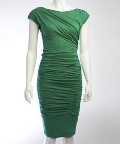 Emerald Green Desdemona Cap-Sleeve Dress | Daily deals for moms, babies and kids