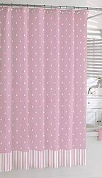 Cortina de bano puntitos pink