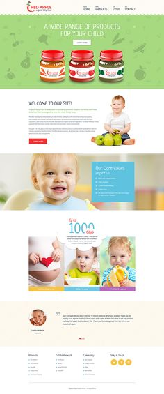 The theme was created for organic baby food companies. Playful layout with food pattern in the background and childish elements looks relevant to the topic. Font solution upholds the general idea o...