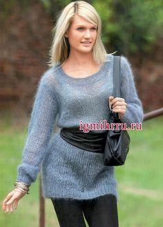 Просто, уютно, тепло! Серо-голубой мохеровый пуловер. Вязание спицами