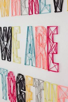 Do-it-Yourself string wall art! Never thought of doing it straight on the wallDo-it-Yourself string wall art! Never thought of doing it straight on the wall String Wall Art, Yarn Wall Art, Diy Wall Art, String Letters, Yarn Letters, Diy Letters, Wall Letters Decor, Letters Decoration, Name Wall Decor