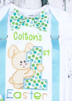 0bc557fe3 Baby boy blue polka dot 1st Easter onesie by LoveAndLollipopsBaby Babys First  Easter Boy, Baby