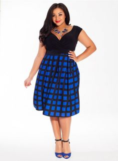 """Perfect dress for curvy and plus size girls. Adelle Dress in Cobalt Beatnik by Igigi Take 20% Off Your First Purchase. Promo Code: """"NEW20"""" Shop Now!"""
