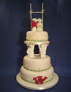 Dragons and Daffodils famous Rugby Sheep wedding cakes. From the United Kingdom. - great for a Welsh wedding