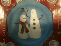Debbie Mumm Sakura **JOLLY SNOWMEN ** 4pc Set Dessert/Salad Plates #DebbieMumm
