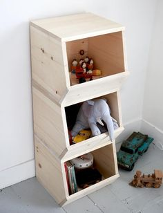 Stack and store toys with this DIY Wooden Toy Bins!