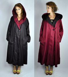 Reversible Hooded Rain Coat Oversized Gorgeous by ItaLaVintage