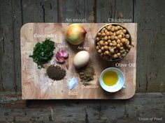 Super easy Falafel Recipe, all the ingredients are on this board.