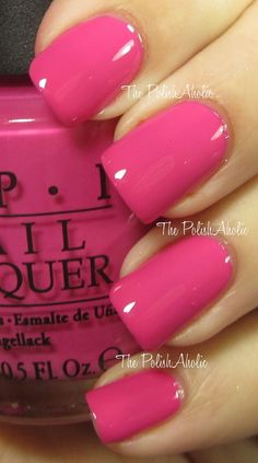 Love this bright pink! Perfect pink nail polish color- Kiss Me on My Tulips - new OPI spring Holland collection! Nails Polish, Opi Nails, Pink Polish, Kiss Nails, Opi Shellac, Pink Toe Nails, Bright Pink Nails, Opi Nail Polish Colors, Opi Colors