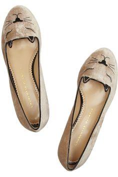 Charlotte Olympia|Sleeping Kitty embroidered velvet slippers|NET-A-PORTER.COM