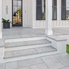 Peacock Pavers has an extensive portfolio of paving types and colors. View more of our Peacock Pavers, Buff color paving, and how it can be utilized internally, in your entrance hall. Concrete Paver Patio, Concrete Front Porch, Outdoor Pavers, Porch Tile, Porch Flooring, Concrete Steps, Backyard Pavers, Patio Steps, Front Porch Steps