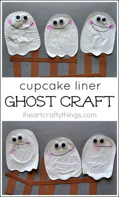 Cupcake Liner Ghost Craft for Kids that goes great with the children's book Three Little Ghosties. Cute Halloween Kids Craft.