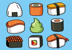 Onigiri and sushi seamless doodle pattern Premium Vector Food Doodles, Cute Doodles, Cute Food Drawings, Doodle Drawings, Sushi Drawing, Exam Pictures, Restaurant Identity, Watercolor Paper Texture, Chocolate Sculptures