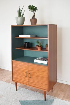 I love the glossy wood exterior & shelves with a flat bold color on the interior., I love the glossy wood exterior & shelves with a flat bold color on the interior. Also the stain vs the paint are perfect contrasts. Decor, Home Diy, Furniture Diy, Retro Furniture, Furniture Makeover, Refurbished Furniture, Diy Furniture, Home Furniture, Vintage Furniture