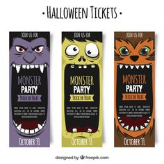 Halloween tickets with monsters Free Vector Halloween Vector, Halloween Crafts, Halloween Party, Tarjetas Diy, Ticket Design, Party Tickets, Party Hacks, Halloween Illustration, Monster Party