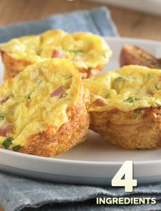 Crustless Ham and Swiss Mini Quiches… A cute and fun dish to take to your Sunday brunch, these miniature quiches are sure to please.