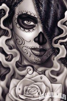 Sugar Skull girl with rose