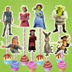 Shrek Birthday Party Characters Printable - Cupcake toppers